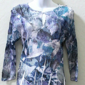 Komarov 3/4 Sleeve Floral Crinkle A-Line Dress